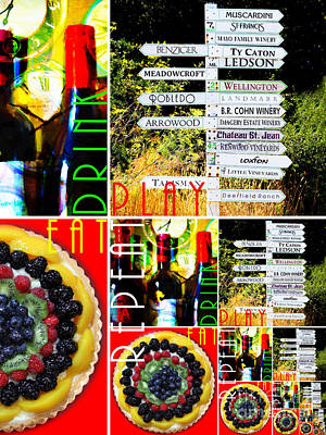Eat Drink Play Repeat Wine Country 20140713 V3 Vertical 1 Poster by Wingsdomain Art and Photography