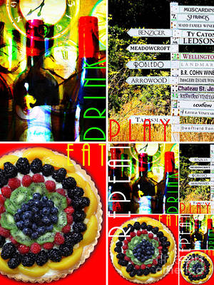 Eat Drink Play Repeat Wine Country 20140713 V3 Vertical 2 Poster by Wingsdomain Art and Photography