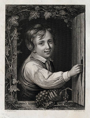 Eating Grapes, Harvest Party, Boy, 19th Century Poster by English School