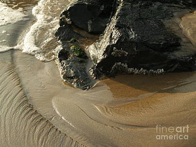 Ebb And Flow With Barnacles On Rock Poster by Anna Lisa Yoder