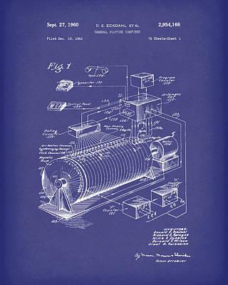 Eckdahl Computer 1960 Patent Art Blue Poster by Prior Art Design