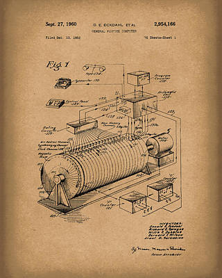 Eckdahl Computer 1960 Patent Art Brown Poster by Prior Art Design