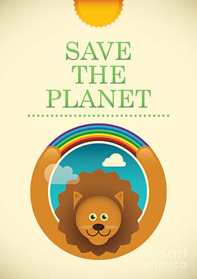 Ecology Poster With Comic Lion. Vector Poster