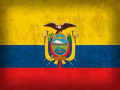 Ecuador Flag Vintage Distressed Finish Poster by Design Turnpike