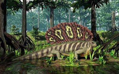 Edaphosaurus Amidst Cordaites Poster