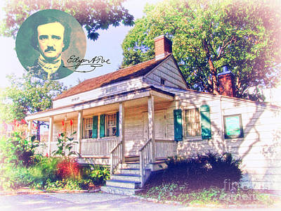 Edgar Allan Poe Cottage With Signature Poster