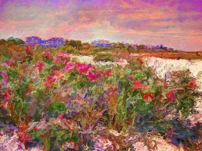 Edgartown Shoreline Roses - Horizontal  Poster by Lyn Voytershark