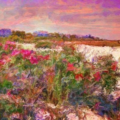 Edgartown Shoreline Roses - Square Poster by Lyn Voytershark
