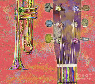 Edible Instruments On A Red Background Poster