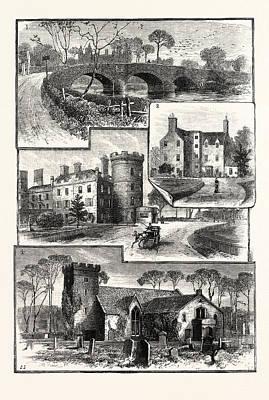 Edinburgh 1. Old Saughton Bridge 2. Old Saughton House 3 Poster by English School