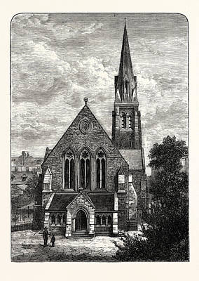 Edinburgh St. Jamess Episcopalian Church 1882 Leith Poster by English School