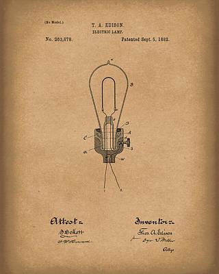 Edison Electric Lamp 1882 Patent Art Brown Poster
