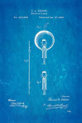 Edison Electric Lamp Patent Art 1880 Blueprint Poster by Ian Monk