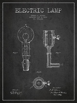 Edison Electric Lamp Patent From 1882 - Dark Poster by Aged Pixel