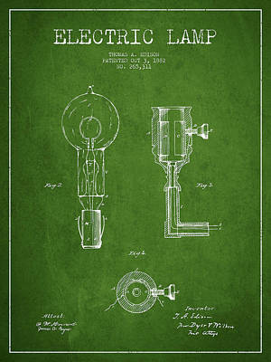 Edison Electric Lamp Patent From 1882 - Green Poster by Aged Pixel