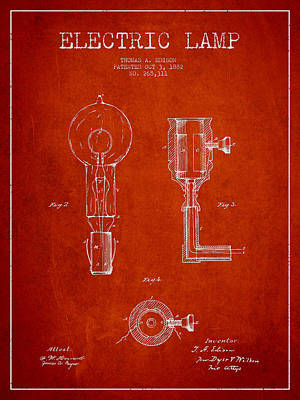 Edison Electric Lamp Patent From 1882 - Red Poster by Aged Pixel