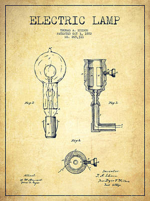 Edison Electric Lamp Patent From 1882 - Vintage Poster by Aged Pixel