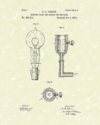 Edison Lamp 1882 Patent Art Poster