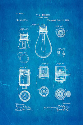 Edison Lamp Base Patent Art 1890 Blueprint Poster by Ian Monk