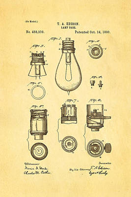 Edison Lamp Base Patent Art 1890 Poster