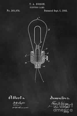Edison Light Bulb Patent Art Chalkboard Poster
