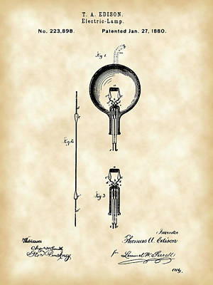 Edison Light Bulb Patent 1880 - Vintage Poster by Stephen Younts