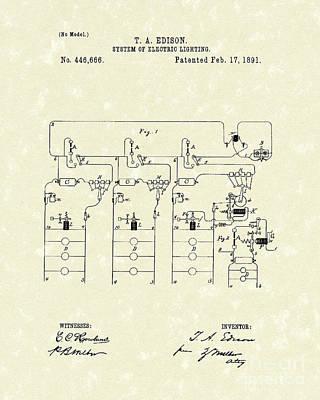Edison Lighting System 1891 Patent Art Poster
