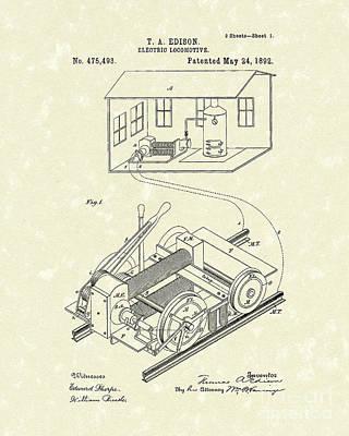 Edison Locomotive 1892 Patent Art Poster