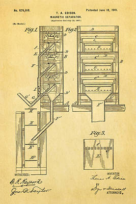 Edison Magnetic Separator Patent Art 1901 Poster by Ian Monk