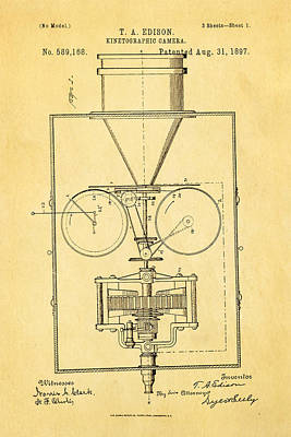 Edison Motion Picture Camera Patent Art 1897 Poster by Ian Monk