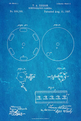 Edison Motion Picture Camera Patent Art 3 1897 Blueprint Poster