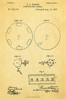 Edison Motion Picture Camera Patent Art 3 1897 Poster by Ian Monk