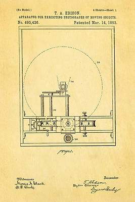 Edison Motion Picture Patent Art 1893 Poster by Ian Monk