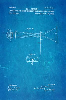 Edison Motion Picture Patent Art 2 1893 Blueprint Poster by Ian Monk
