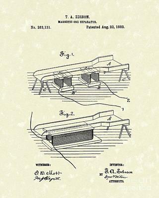 Edison Ore Separator 1882 Patent Art Poster