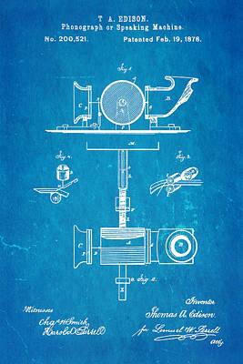 Edison Phonograph Patent Art 1878 Blueprint Poster