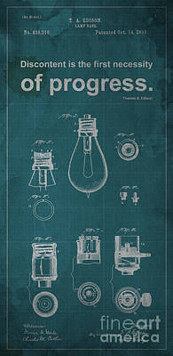 Edison Quote Lamp Patent Blueprint Poster by Pablo Franchi