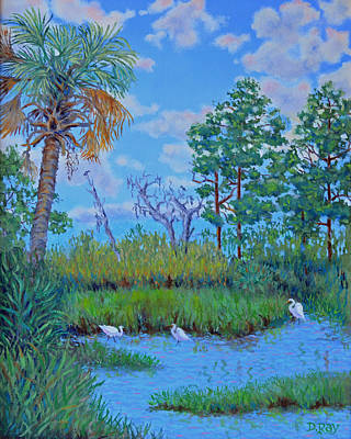 Poster featuring the painting Edisto Egret Hideaway by Dwain Ray