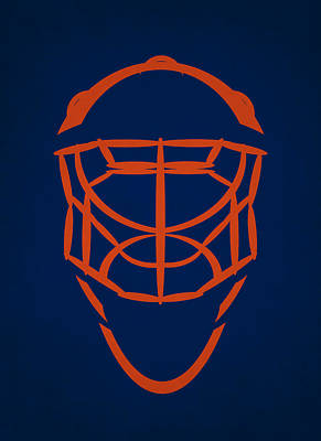 Edmonton Oilers Goalie Mask Poster by Joe Hamilton