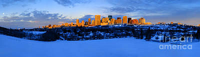 Edmonton Winter Skyline Panorama 1 Poster