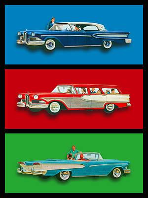Edsel Car Advertisement Black Border Poster by Tony Rubino