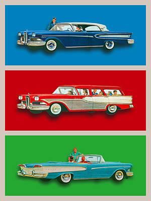 Edsel Car Advertisement Gray Border Poster by Tony Rubino