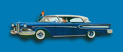 Edsel Citation Car Advertisement Sedan Blue Poster by Tony Rubino