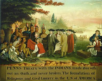 Edward Hicks American, 1780 - 1849, Penns Treaty Poster