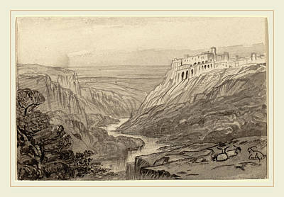 Edward Lear, Goats Resting Above A River Gorge Narni Poster