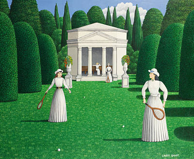 Edwardian Ladies Playing Tennis, 1978 Acrylic On Linen Poster by Larry Smart