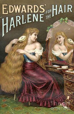Edwards Harlene For Hair 1890s Uk Hair Poster by The Advertising Archives