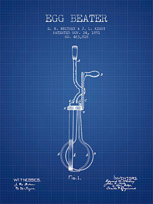 Egg Beater Patent From 1891 - Blueprint Poster