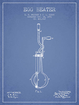 Egg Beater Patent From 1891 - Light Blue Poster