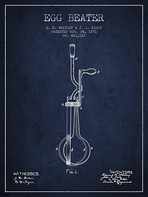 Egg Beater Patent From 1891 - Navy Blue Poster